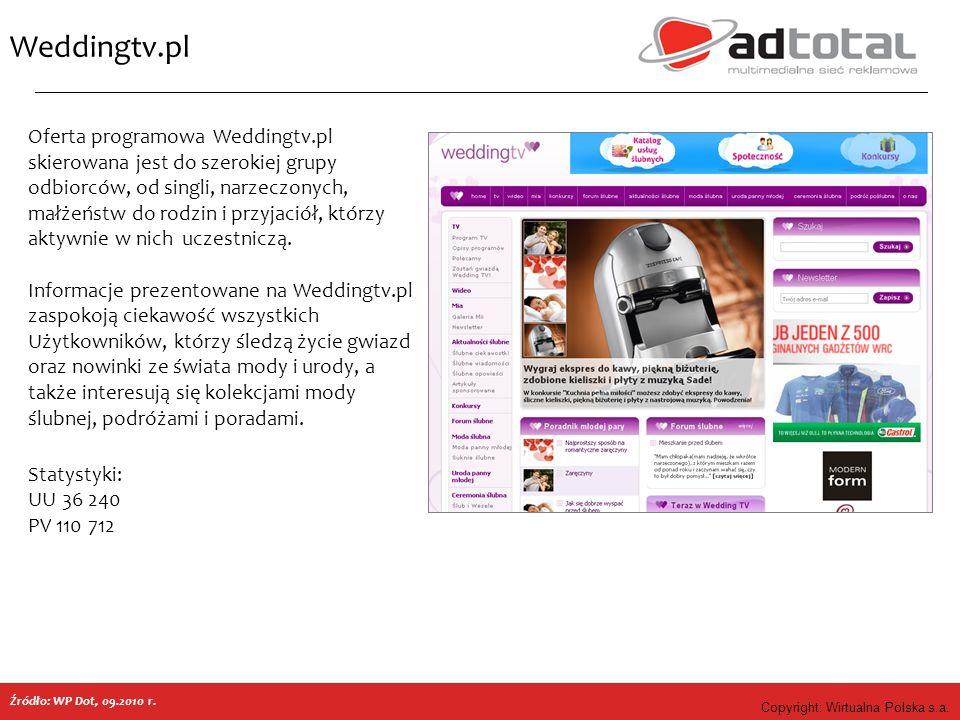 Copyright: Wirtualna Polska s.a. Weddingtv.pl Źródło: WP Dot, 09.2010 r. Oferta programowa Weddingtv.pl skierowana jest do szerokiej grupy odbiorców,