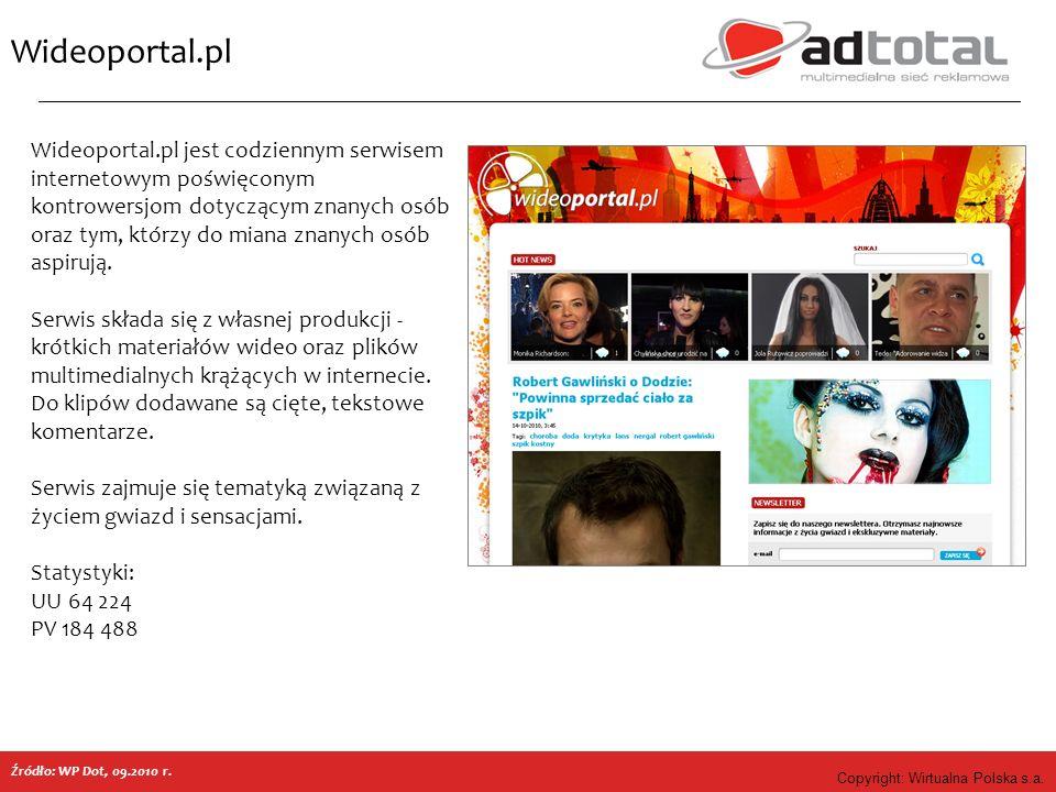 Copyright: Wirtualna Polska s.a. Wideoportal.pl Źródło: WP Dot, 09.2010 r. Wideoportal.pl jest codziennym serwisem internetowym poświęconym kontrowers