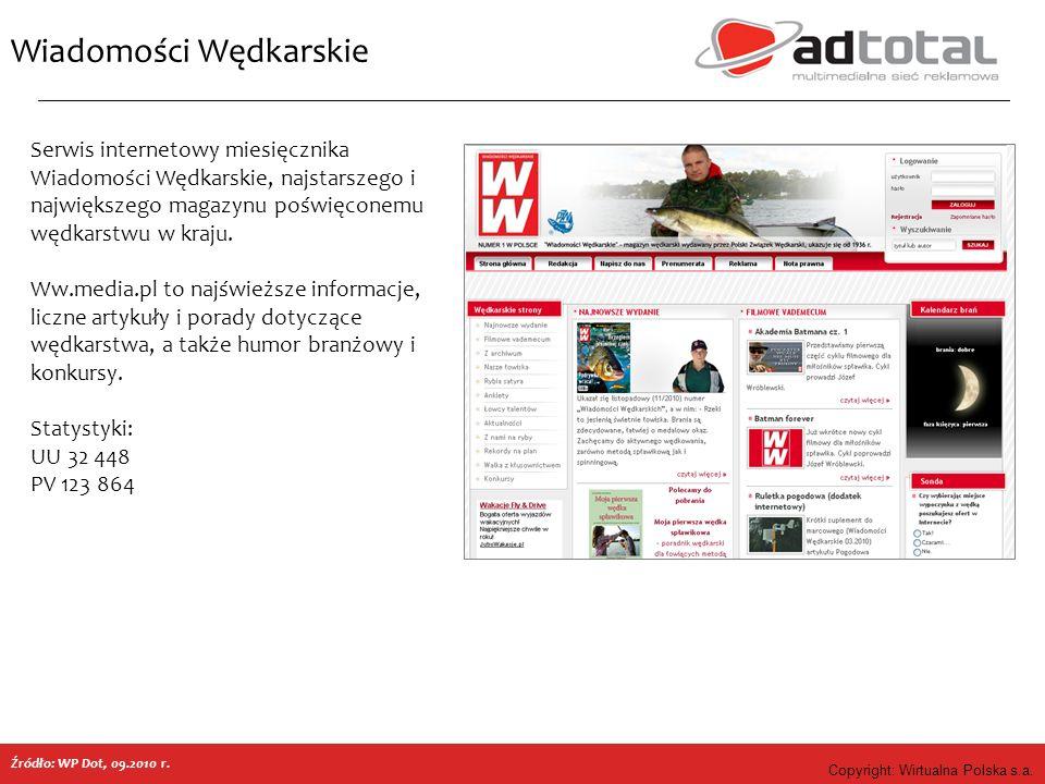 Copyright: Wirtualna Polska s.a. Wiadomości Wędkarskie Źródło: WP Dot, 09.2010 r. Serwis internetowy miesięcznika Wiadomości Wędkarskie, najstarszego