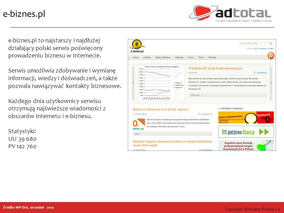 Copyright: Wirtualna Polska s.a. e-biznes.pl e-biznes.pl to najstarszy i najdłużej działający polski serwis poświęcony prowadzeniu biznesu w Interneci