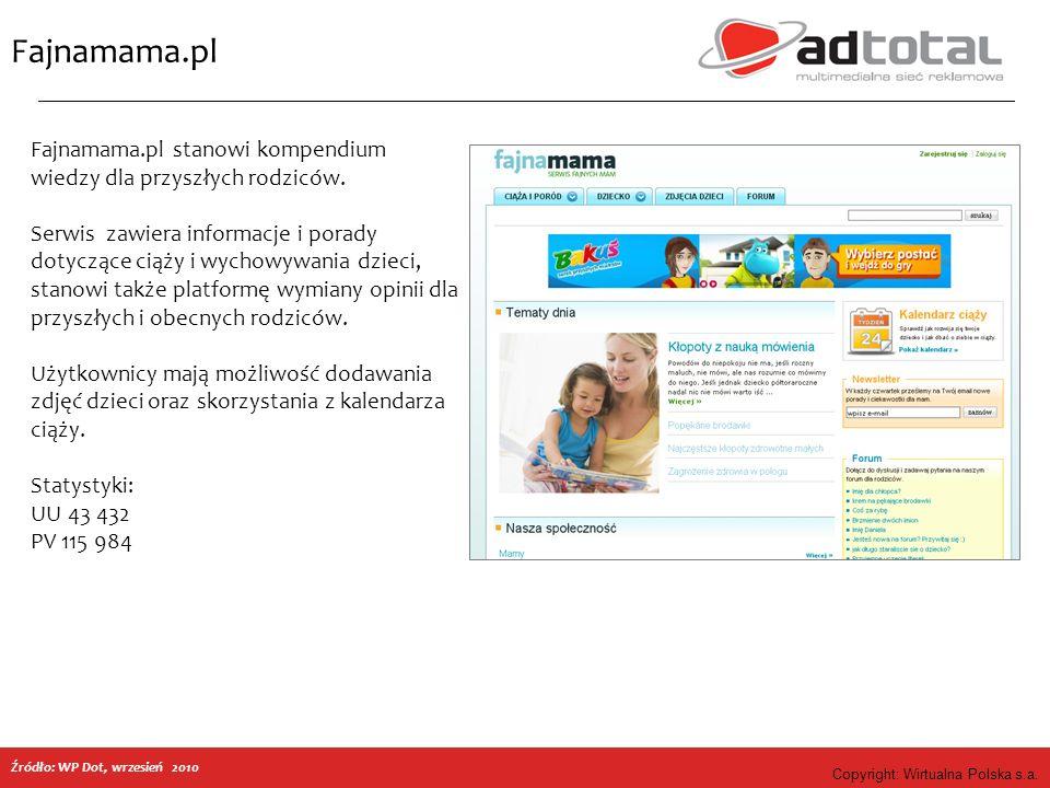 Copyright: Wirtualna Polska s.a. Fajnamama.pl Fajnamama.pl stanowi kompendium wiedzy dla przyszłych rodziców. Serwis zawiera informacje i porady dotyc