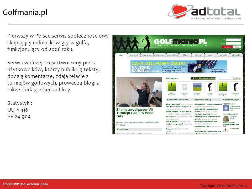 Copyright: Wirtualna Polska s.a. Golfmania.pl Pierwszy w Polsce serwis społecznościowy skupiający miłośników gry w golfa, funkcjonujący od 2008 roku.