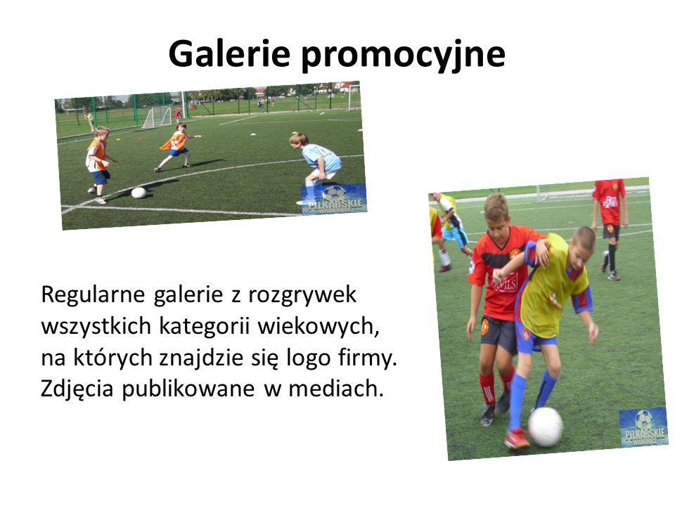Galerie promocyjne Regularne galerie z rozgrywek wszystkich kategorii wiekowych, na których znajdzie się logo firmy. Zdjęcia publikowane w mediach.