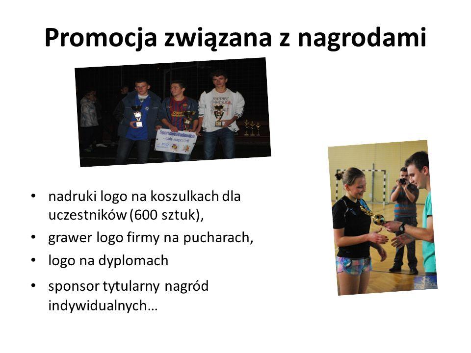 Promocja związana z nagrodami nadruki logo na koszulkach dla uczestników (600 sztuk), grawer logo firmy na pucharach, logo na dyplomach sponsor tytula