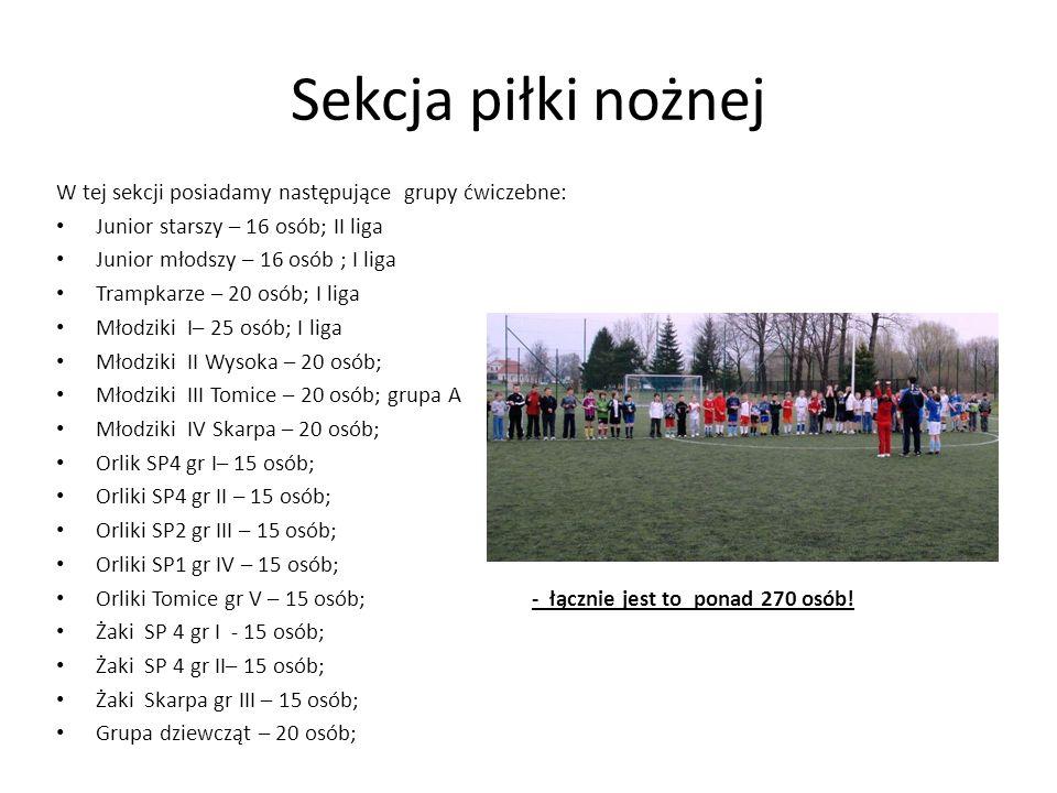 Sekcja piłki nożnej W tej sekcji posiadamy następujące grupy ćwiczebne: Junior starszy – 16 osób; II liga Junior młodszy – 16 osób ; I liga Trampkarze