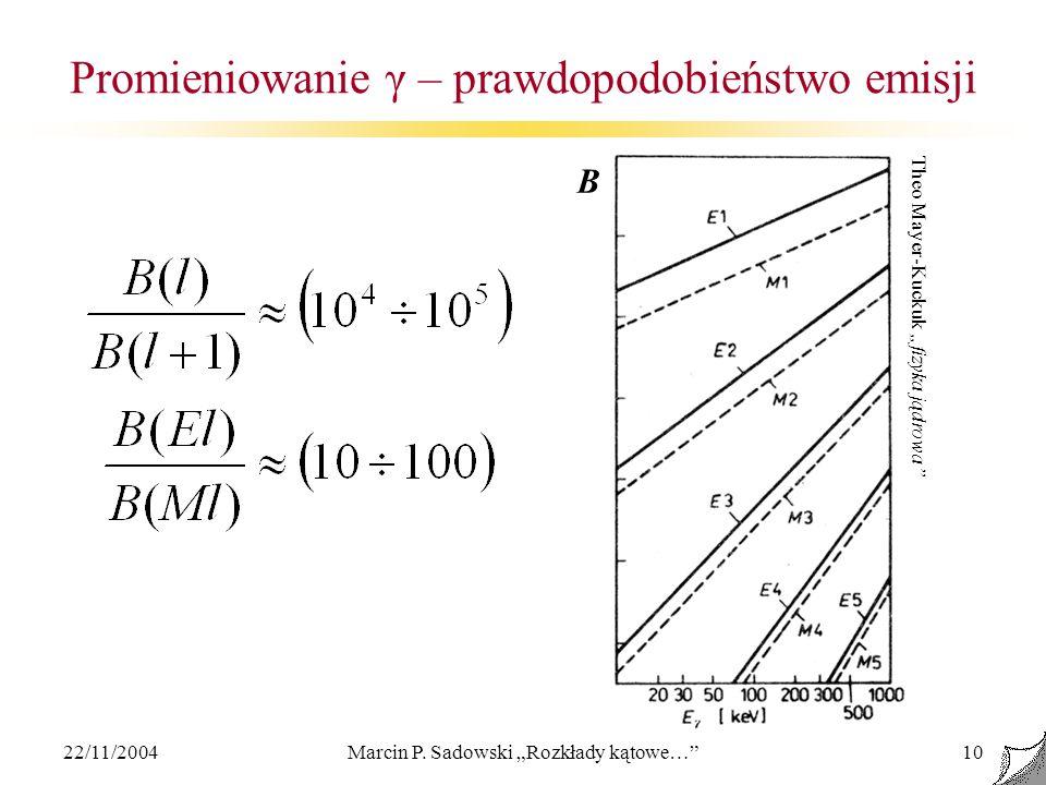 22/11/2004Marcin P. Sadowski Rozkłady kątowe…10 Promieniowanie γ – prawdopodobieństwo emisji Theo Mayer-Kuckuk fizyka jądrowa B