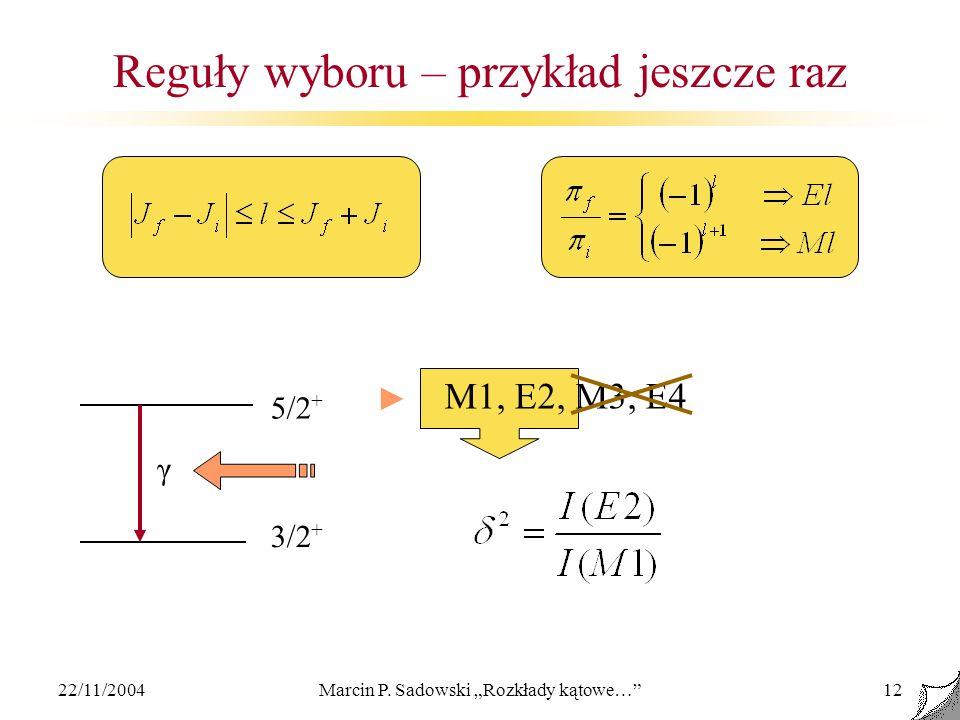 22/11/2004Marcin P. Sadowski Rozkłady kątowe…12 Reguły wyboru – przykład jeszcze raz 5/2 + 3/2 + γ M1, E2, M3, E4