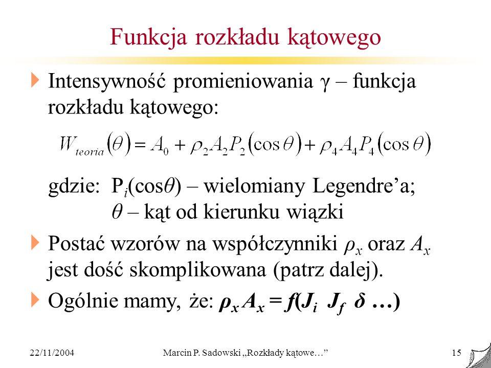 22/11/2004Marcin P. Sadowski Rozkłady kątowe…15 Funkcja rozkładu kątowego Intensywność promieniowania γ – funkcja rozkładu kątowego: gdzie:P i (cosθ)