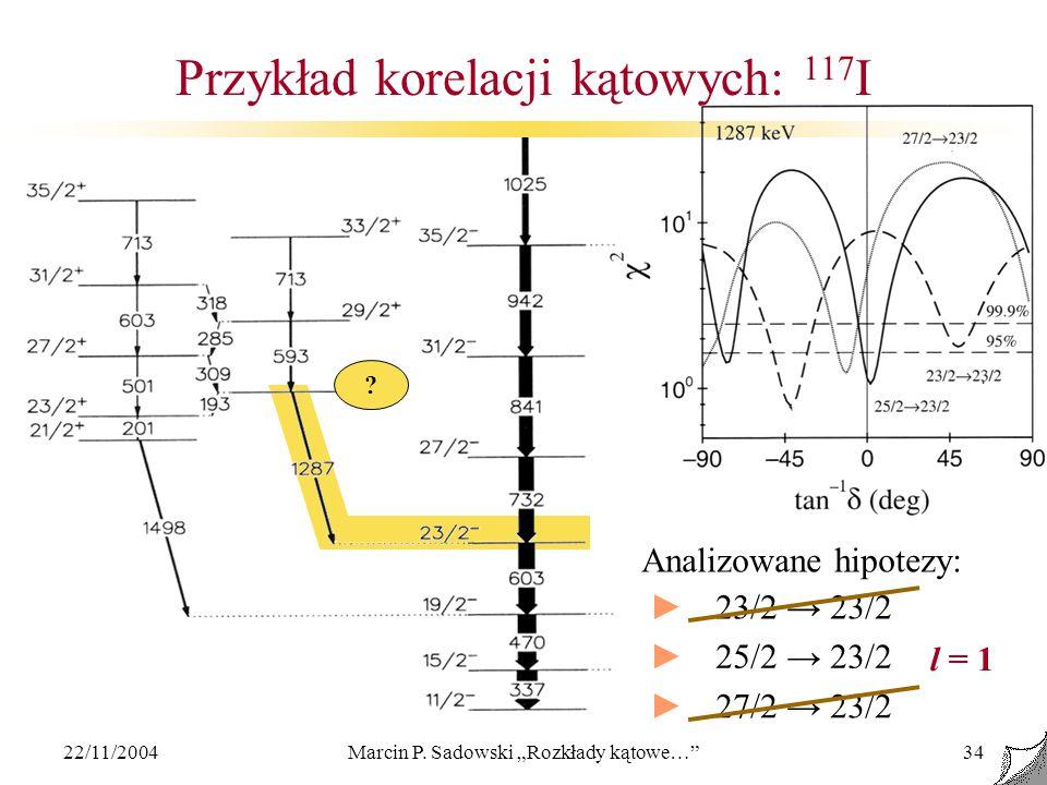 22/11/2004Marcin P. Sadowski Rozkłady kątowe…34 Przykład korelacji kątowych: 117 I ? Analizowane hipotezy: 23/2 25/2 23/2 27/2 23/2 l = 1