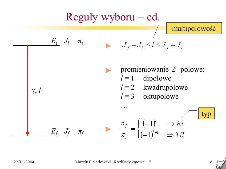 22/11/2004Marcin P. Sadowski Rozkłady kątowe…6 Reguły wyboru – cd. EiJiπiEiJiπi EfJfπfEfJfπf γ, l promieniowanie 2 l –polowe: l = 1dipolowe l = 2kwadr