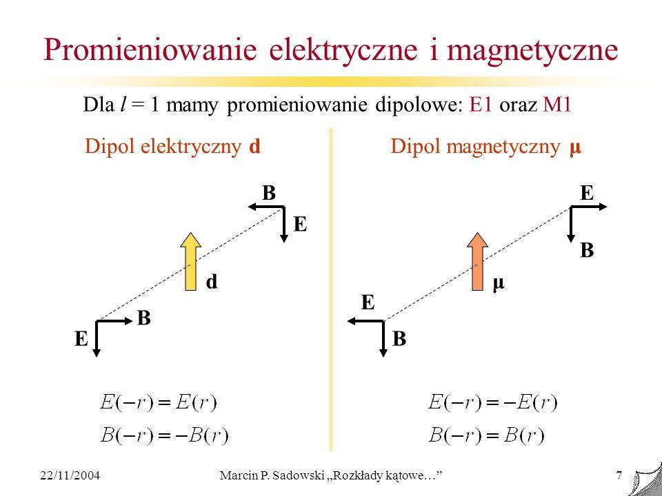 22/11/2004Marcin P. Sadowski Rozkłady kątowe…7 Promieniowanie elektryczne i magnetyczne BE BE E B B Dipol elektryczny dDipol magnetyczny μ dμ E Dla l