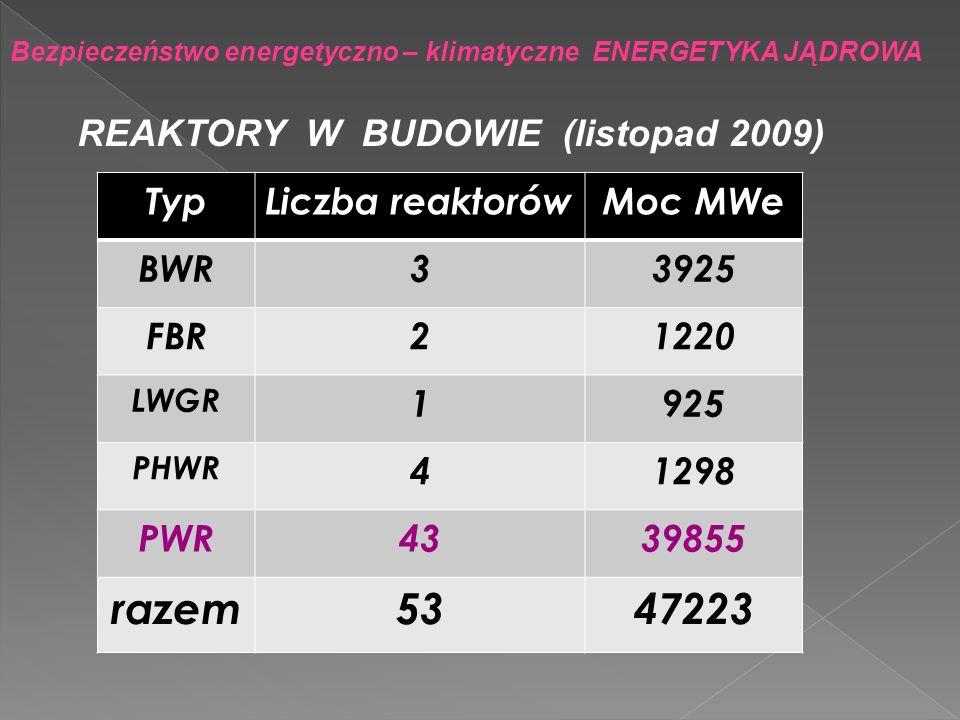 Bezpieczeństwo energetyczno – klimatyczne ENERGETYKA JĄDROWA TypLiczba reaktorówMoc MWe BWR33925 FBR21220 LWGR 1925 PHWR 41298 PWR4339855 razem5347223