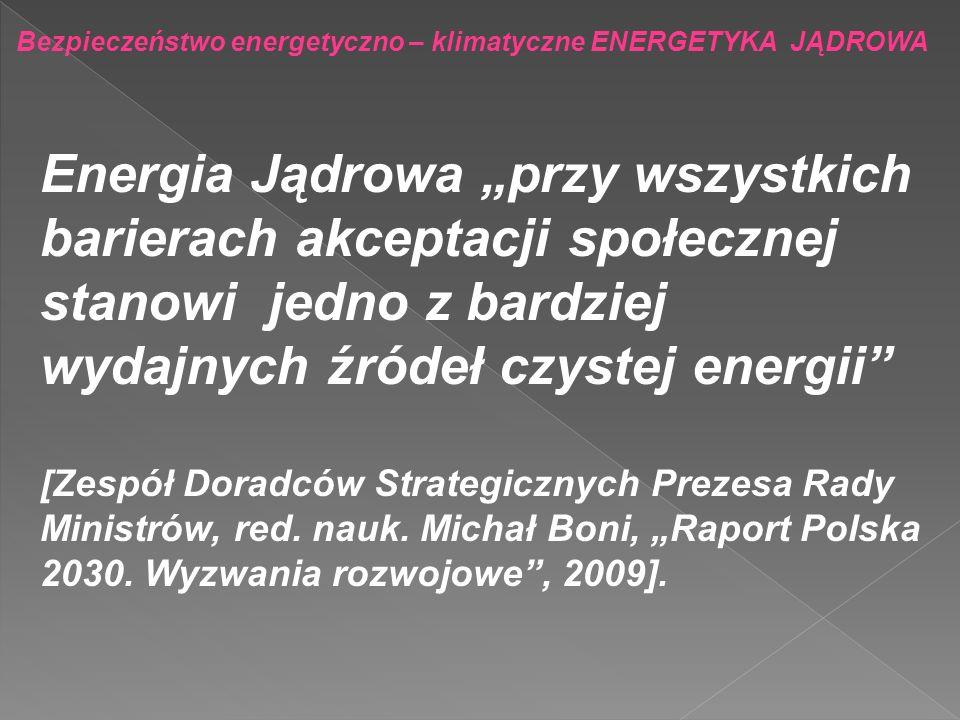 Bezpieczeństwo energetyczno – klimatyczne ENERGETYKA JĄDROWA Przewidywana w dokumentach rządowych budowa polskiej energetyki jądrowej winna być kontynuowana poza rok 2030 dla osiągnięcia i utrzymania udziału tej opcji na poziomie 10-15% ogólnej mocy wytwórczej.