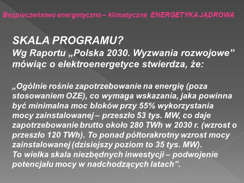 Bezpieczeństwo energetyczno – klimatyczne ENERGETYKA JĄDROWA SKALA PROGRAMU? Wg Raportu Polska 2030. Wyzwania rozwojowe mówiąc o elektroenergetyce stw