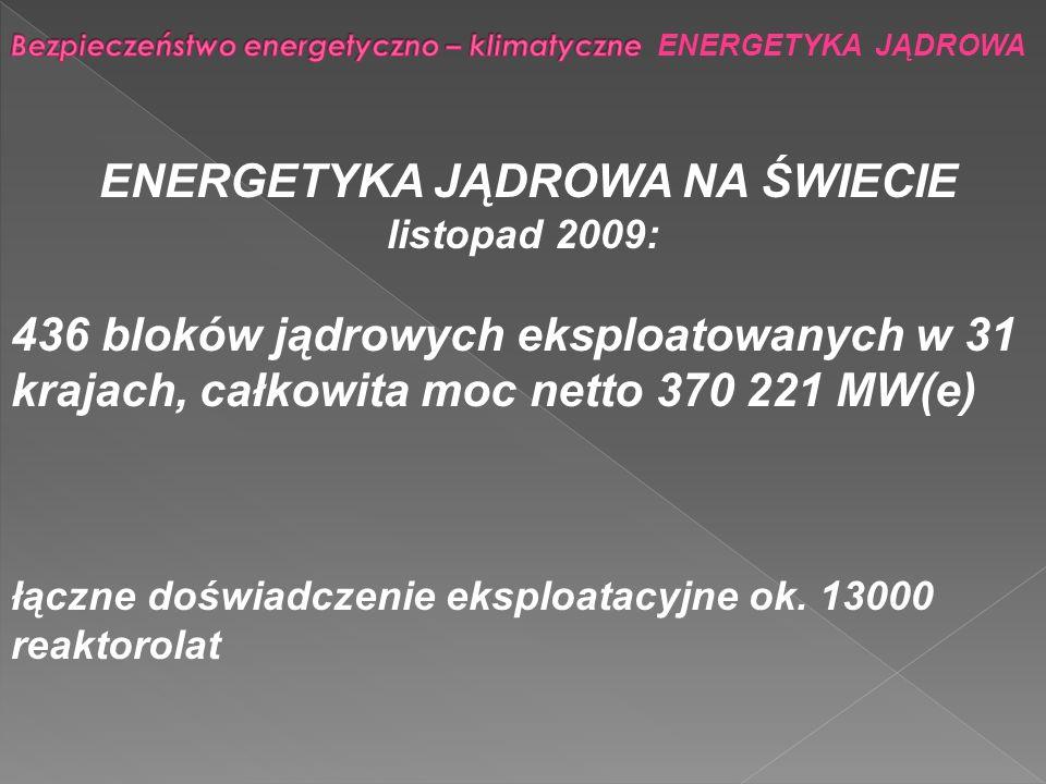 Bezpieczeństwo energetyczno – klimatyczne ENERGETYKA JĄDROWA ZALETY ENERGETYKI JĄDROWEJ: bezpieczeństwo dostaw energii brak emisji gazów cieplarnianych niska i stabilna cena energii łatwy i politycznie neutralny rynek paliwa innowacyjność sprzyjająca łączeniu biznesu i nauki tworzenie wysokwalifikowanych miejsc pracy logistyka zarządznia/wysoka koncentracja energii (elektrownia o mocy 1 GWe zużywa: jądrowa - 1 wagon paliwa rocznie, węglowa - 3 pociągi węgla kamiennego dziennie) WADY.