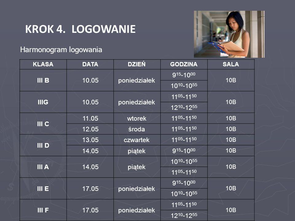KROK 4. LOGOWANIE KLASADATADZIEŃGODZINASALA III B10.05poniedziałek 9 15 -10 00 10B 10 10 -10 55 IIIG10.05poniedziałek 11 05 -11 50 10B 12 10 -12 55 II