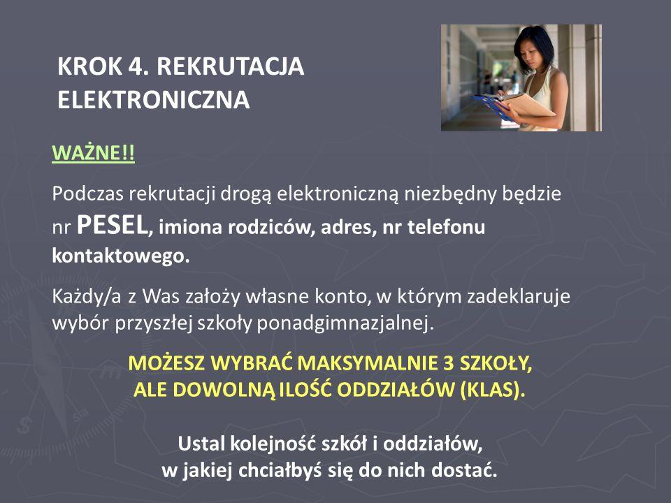 KROK 4. REKRUTACJA ELEKTRONICZNA WAŻNE!! Podczas rekrutacji drogą elektroniczną niezbędny będzie nr PESEL, imiona rodziców, adres, nr telefonu kontakt