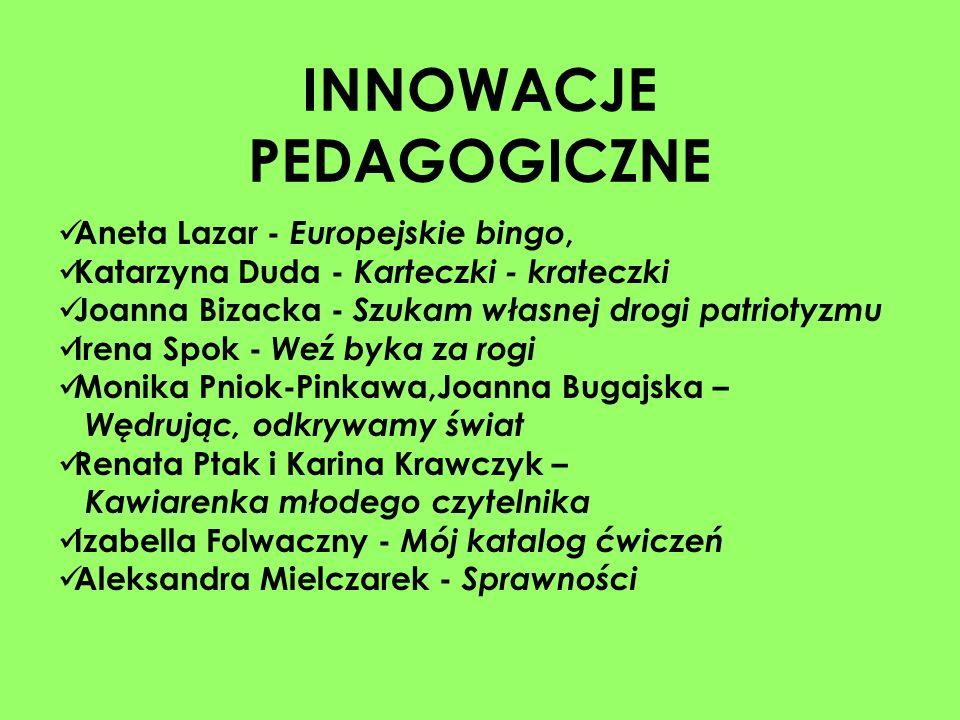 INNOWACJE PEDAGOGICZNE Aneta Lazar - Europejskie bingo, Katarzyna Duda - Karteczki - krateczki Joanna Bizacka - Szukam własnej drogi patriotyzmu Irena