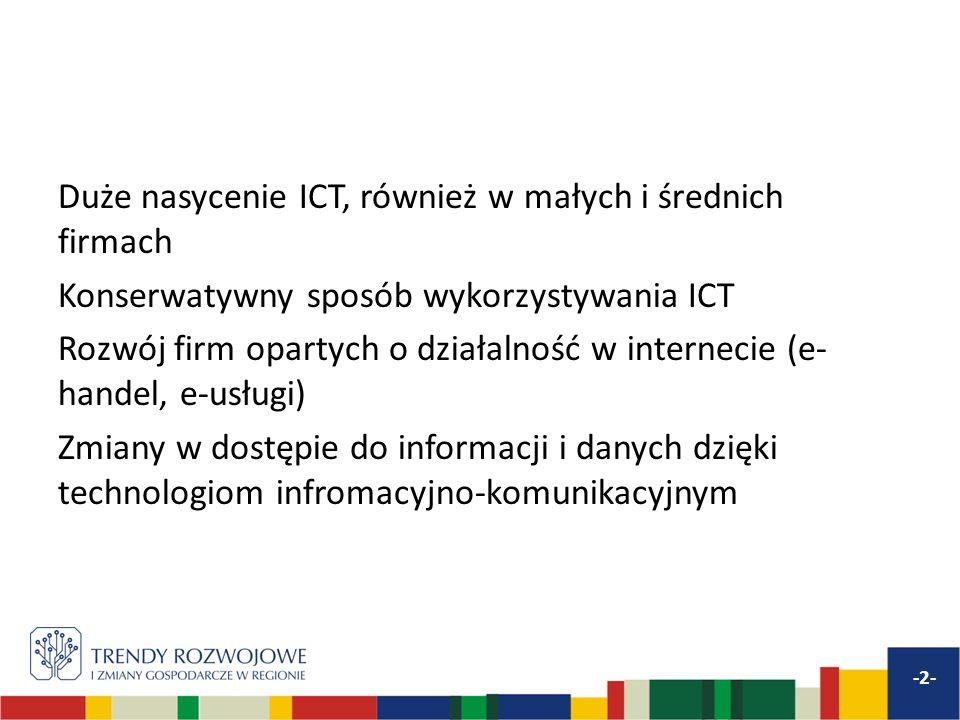 Duże nasycenie ICT, również w małych i średnich firmach Konserwatywny sposób wykorzystywania ICT Rozwój firm opartych o działalność w internecie (e- handel, e-usługi) Zmiany w dostępie do informacji i danych dzięki technologiom infromacyjno-komunikacyjnym -2-