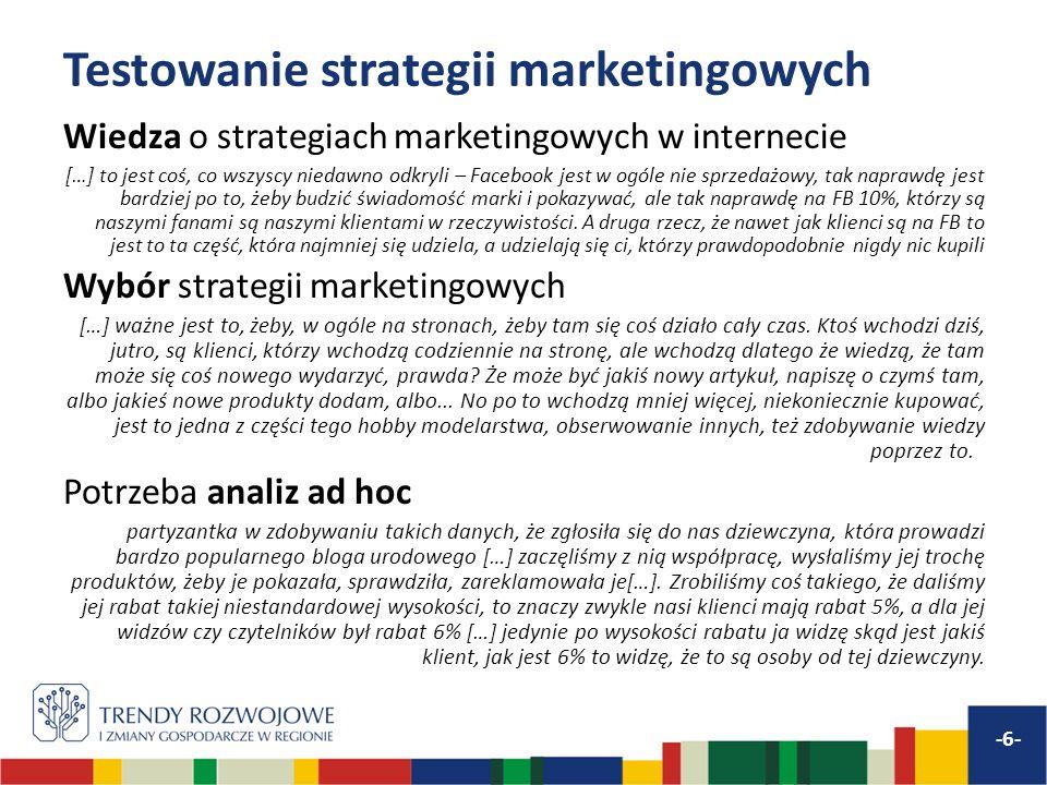 Testowanie strategii marketingowych Wiedza o strategiach marketingowych w internecie […] to jest coś, co wszyscy niedawno odkryli – Facebook jest w ogóle nie sprzedażowy, tak naprawdę jest bardziej po to, żeby budzić świadomość marki i pokazywać, ale tak naprawdę na FB 10%, którzy są naszymi fanami są naszymi klientami w rzeczywistości.