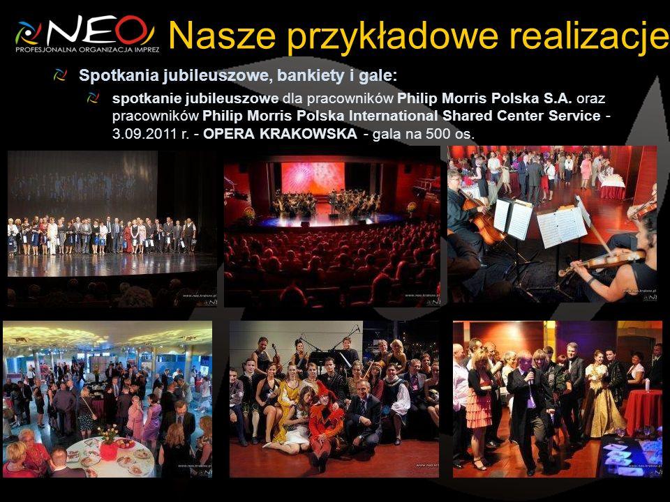 Nasze przykładowe realizacje Spotkania jubileuszowe, bankiety i gale: spotkanie jubileuszowe dla pracowników Philip Morris Polska S.A. oraz pracownikó