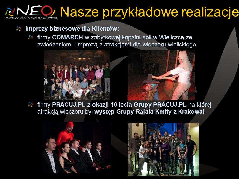 Nasze przykładowe realizacje Imprezy biznesowe dla Klientów: firmy COMARCH w zabytkowej kopalni soli w Wieliczce ze zwiedzaniem i imprezą z atrakcjami