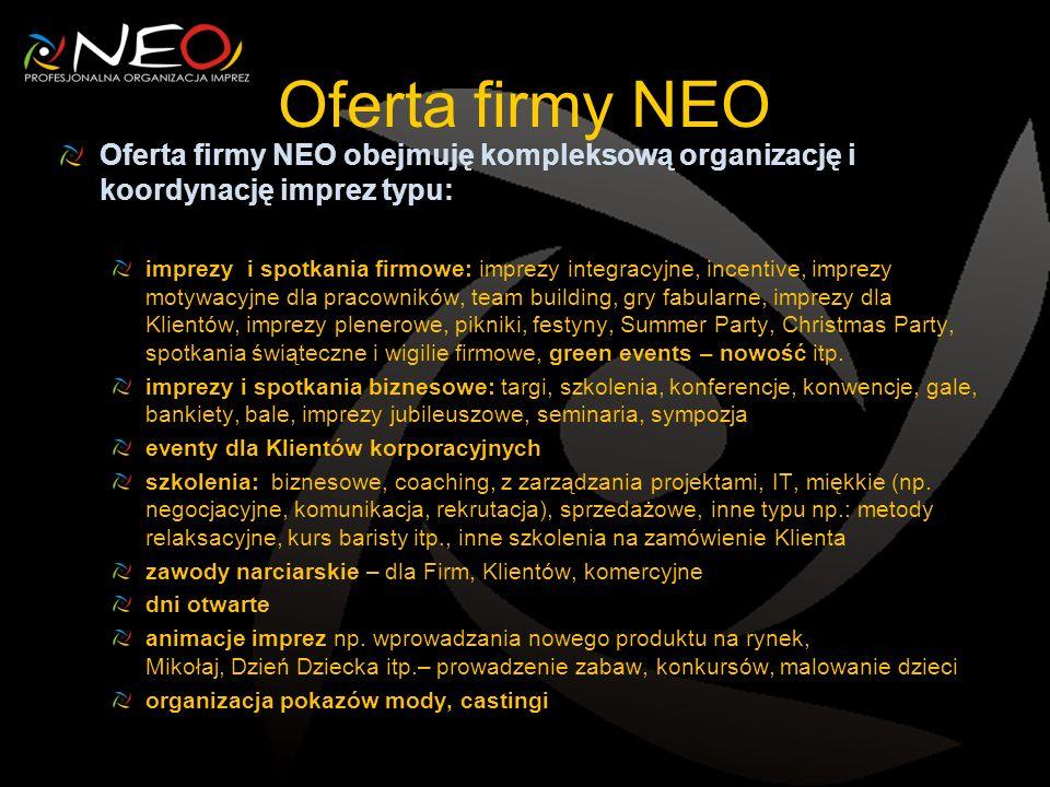 Oferta firmy NEO Oferta firmy NEO obejmuję kompleksową organizację i koordynację imprez typu: imprezy i spotkania firmowe: imprezy integracyjne, incen