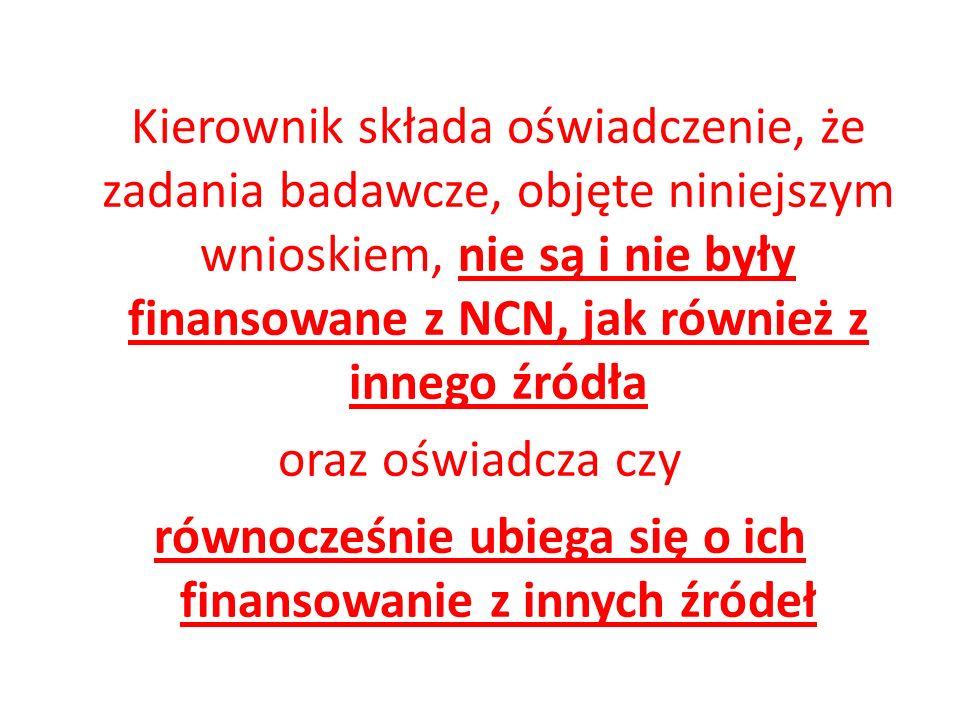 Kierownik składa oświadczenie, że zadania badawcze, objęte niniejszym wnioskiem, nie są i nie były finansowane z NCN, jak również z innego źródła oraz
