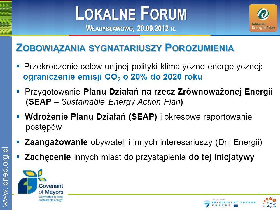 www.pnec.org.pl Z OBOWIĄZANIA SYGNATARIUSZY P OROZUMIENIA Przekroczenie celów unijnej polityki klimatyczno-energetycznej: ograniczenie emisji CO 2 o 20% do 2020 roku Przygotowanie Planu Działań na rzecz Zrównoważonej Energii (SEAP – Sustainable Energy Action Plan) Wdrożenie Planu Działań (SEAP) i okresowe raportowanie postępów Zaangażowanie obywateli i innych interesariuszy (Dni Energii) Zachęcenie innych miast do przystąpienia do tej inicjatywy L OKALNE F ORUM W ŁADYSŁAWOWO, 20.09.2012 R.