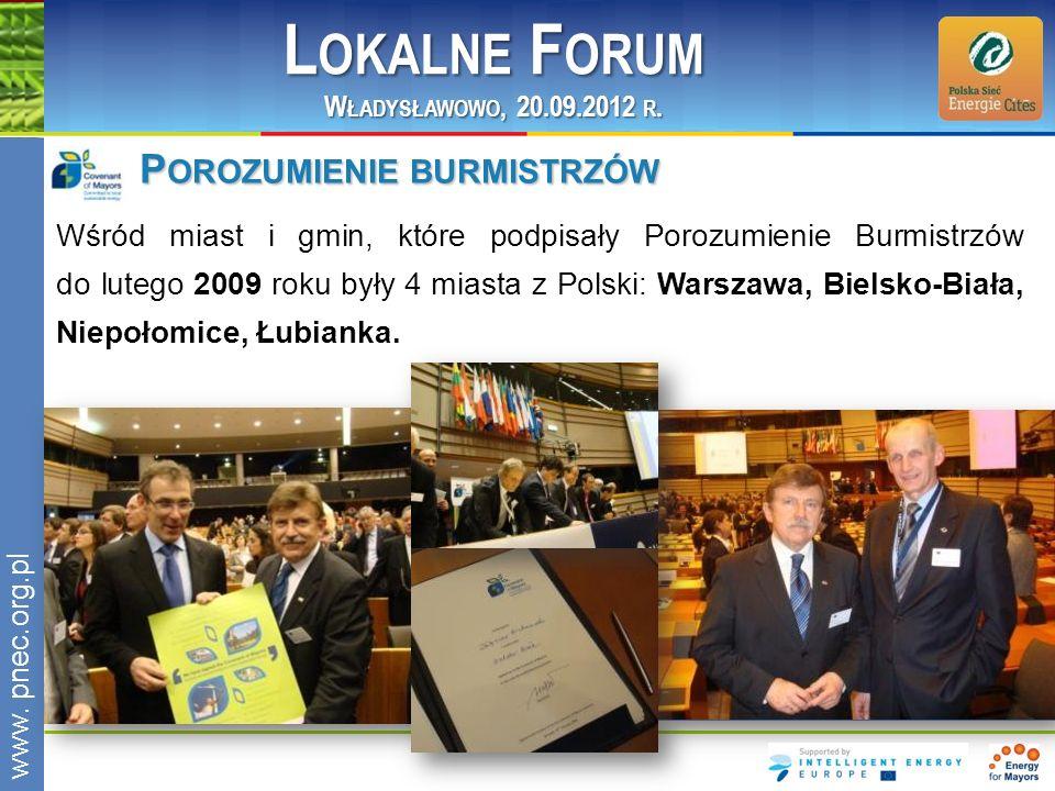 www.pnec.org.pl P OROZUMIENIE BURMISTRZÓW Wśród miast i gmin, które podpisały Porozumienie Burmistrzów do lutego 2009 roku były 4 miasta z Polski: War