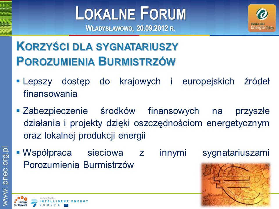 www.pnec.org.pl K ORZYŚCI DLA SYGNATARIUSZY P OROZUMIENIA B URMISTRZÓW Lepszy dostęp do krajowych i europejskich źródeł finansowania Zabezpieczenie śr