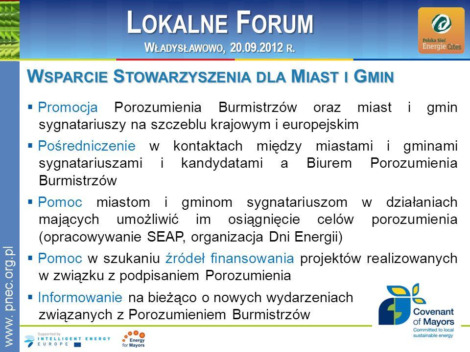 www.pnec.org.pl W SPARCIE S TOWARZYSZENIA DLA M IAST I G MIN Promocja Porozumienia Burmistrzów oraz miast i gmin sygnatariuszy na szczeblu krajowym i
