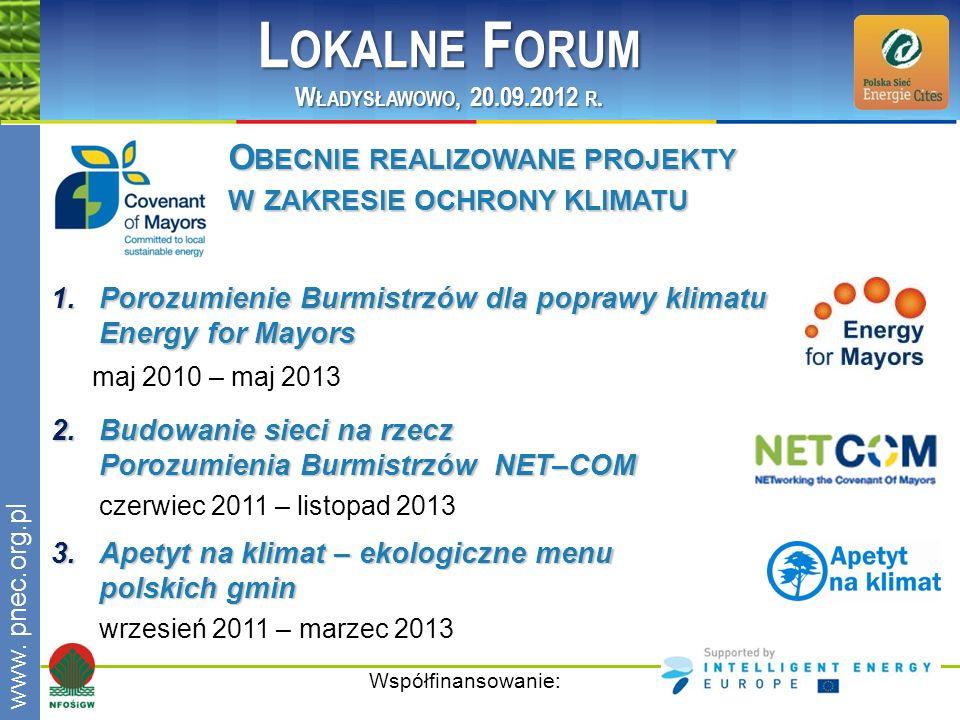 www.pnec.org.pl 1.Porozumienie Burmistrzów dla poprawy klimatu Energy for Mayors maj 2010 – maj 2013 Współfinansowanie: 2.Budowanie sieci na rzecz Por