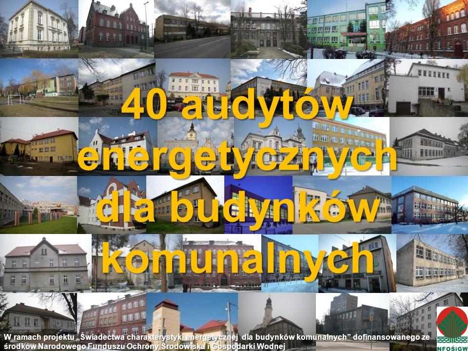 40 audytów energetycznych dla budynków komunalnych W ramach projektu Świadectwa charakterystyki energetycznej dla budynków komunalnych dofinansowanego ze środków Narodowego Funduszu Ochrony Środowiska i Gospodarki Wodnej