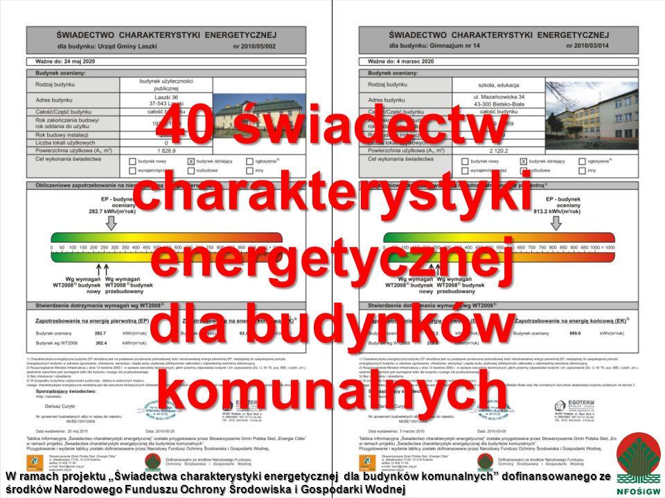 40 świadectw charakterystyki energetycznej dla budynków komunalnych W ramach projektu Świadectwa charakterystyki energetycznej dla budynków komunalnych dofinansowanego ze środków Narodowego Funduszu Ochrony Środowiska i Gospodarki Wodnej