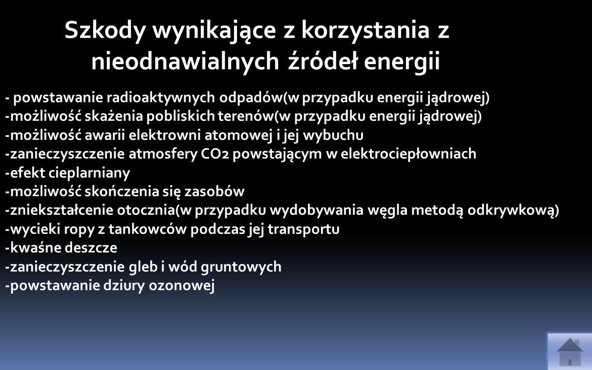 Szkody wynikające z korzystania z nieodnawialnych źródeł energii - powstawanie radioaktywnych odpadów(w przypadku energii jądrowej) -możliwość skażeni