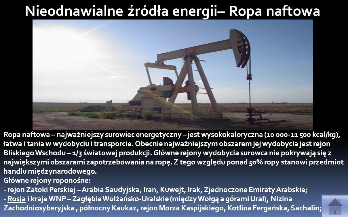 Gaz ziemny –Znaczenie gazu systematycznie rośnie, ponieważ posiada on wysoką kaloryczność (do 9 tys.