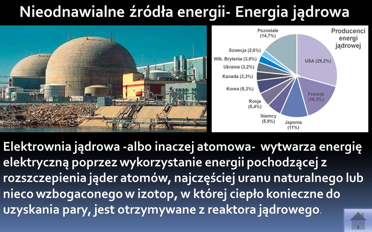 Elektrownia jądrowa -albo inaczej atomowa- wytwarza energię elektryczną poprzez wykorzystanie energii pochodzącej z rozszczepienia jąder atomów, najcz