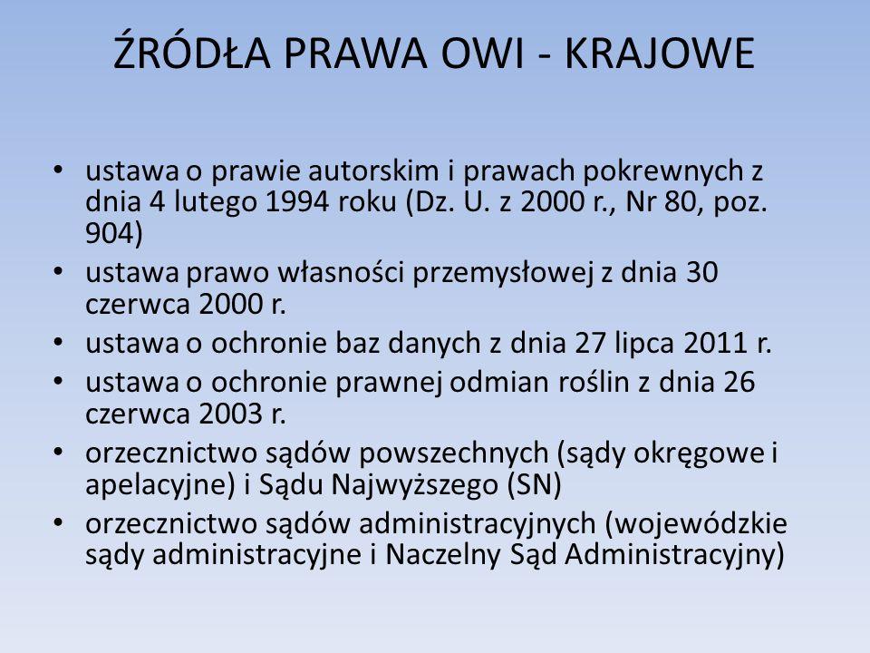 ŹRÓDŁA PRAWA OWI - KRAJOWE ustawa o prawie autorskim i prawach pokrewnych z dnia 4 lutego 1994 roku (Dz. U. z 2000 r., Nr 80, poz. 904) ustawa prawo w