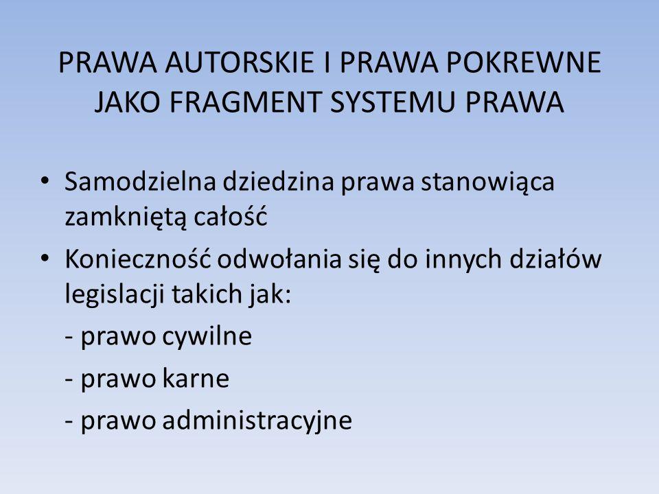 PRAWA AUTORSKIE I PRAWA POKREWNE JAKO FRAGMENT SYSTEMU PRAWA Samodzielna dziedzina prawa stanowiąca zamkniętą całość Konieczność odwołania się do inny