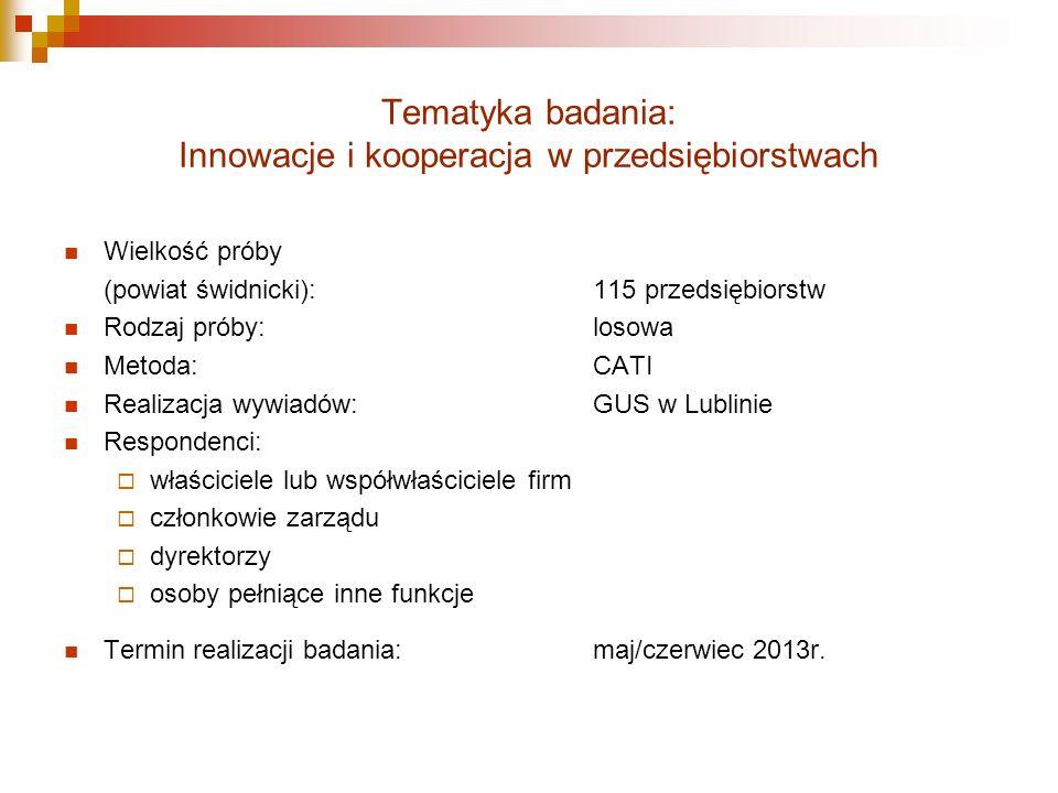 Tematyka badania: Innowacje i kooperacja w przedsiębiorstwach Wielkość próby (powiat świdnicki):115 przedsiębiorstw Rodzaj próby:losowa Metoda:CATI Realizacja wywiadów:GUS w Lublinie Respondenci: właściciele lub współwłaściciele firm członkowie zarządu dyrektorzy osoby pełniące inne funkcje Termin realizacji badania:maj/czerwiec 2013r.