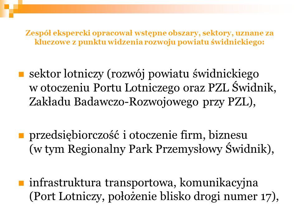 Zespół ekspercki opracował wstępne obszary, sektory, uznane za kluczowe z punktu widzenia rozwoju powiatu świdnickiego: sektor lotniczy (rozwój powiatu świdnickiego w otoczeniu Portu Lotniczego oraz PZL Świdnik, Zakładu Badawczo-Rozwojowego przy PZL), przedsiębiorczość i otoczenie firm, biznesu (w tym Regionalny Park Przemysłowy Świdnik), infrastruktura transportowa, komunikacyjna (Port Lotniczy, położenie blisko drogi numer 17),