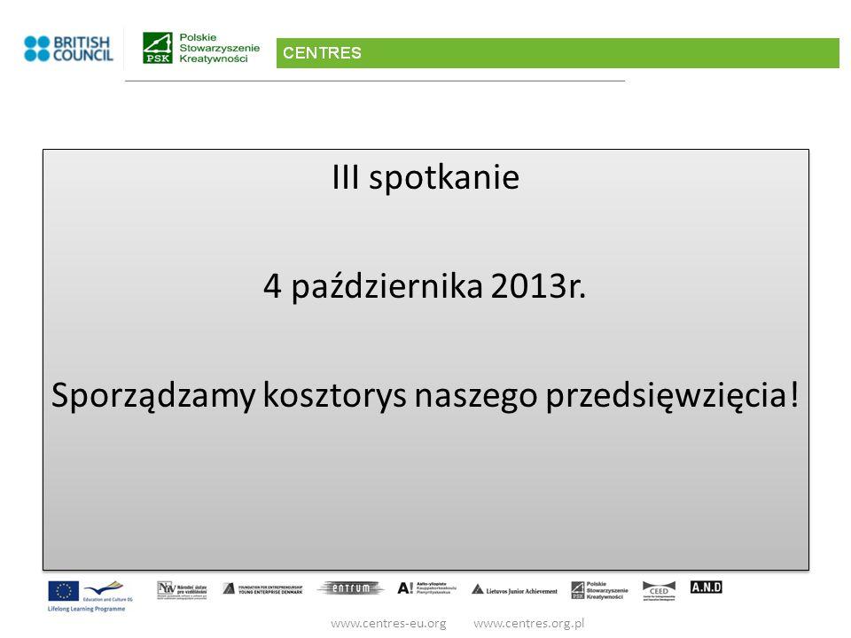 III spotkanie 4 października 2013r. Sporządzamy kosztorys naszego przedsięwzięcia.