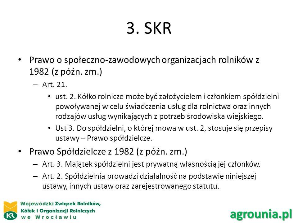 3.SKR Prawo o społeczno-zawodowych organizacjach rolników z 1982 (z późn.