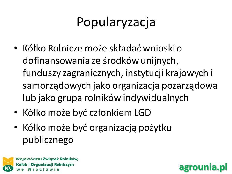 Kółko Rolnicze może składać wnioski o dofinansowania ze środków unijnych, funduszy zagranicznych, instytucji krajowych i samorządowych jako organizacja pozarządowa lub jako grupa rolników indywidualnych Kółko może być członkiem LGD Kółko może być organizacją pożytku publicznego agrounia.pl Popularyzacja