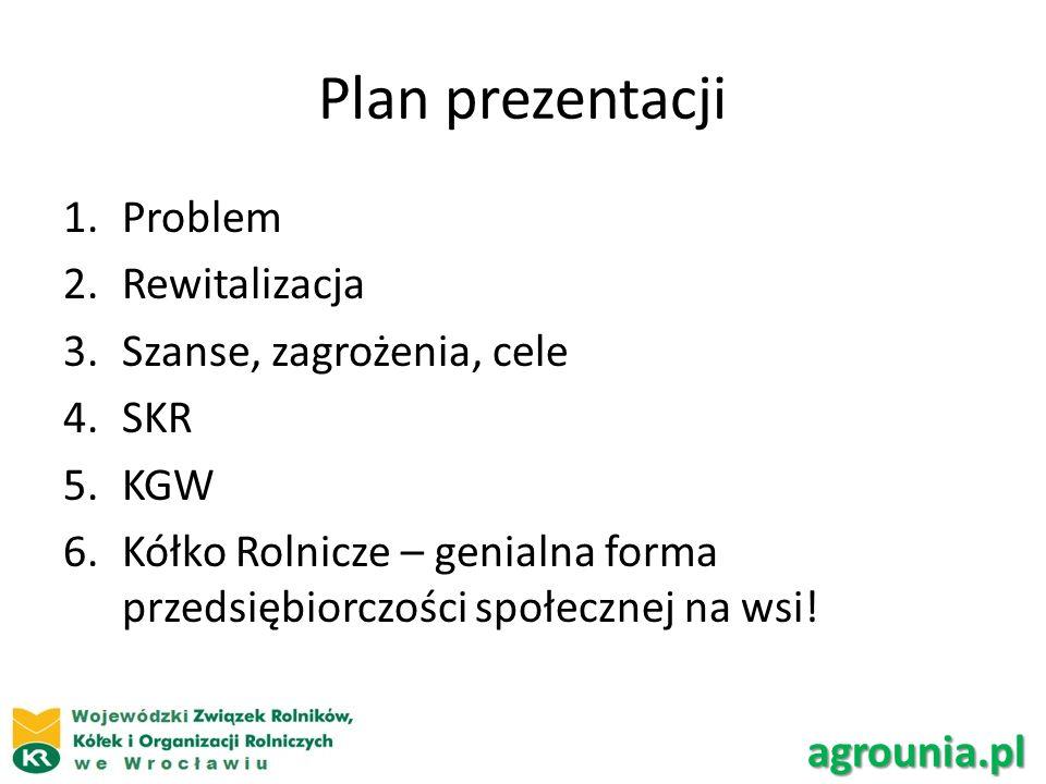 Plan prezentacji 1.Problem 2.Rewitalizacja 3.Szanse, zagrożenia, cele 4.SKR 5.KGW 6.Kółko Rolnicze – genialna forma przedsiębiorczości społecznej na wsi.