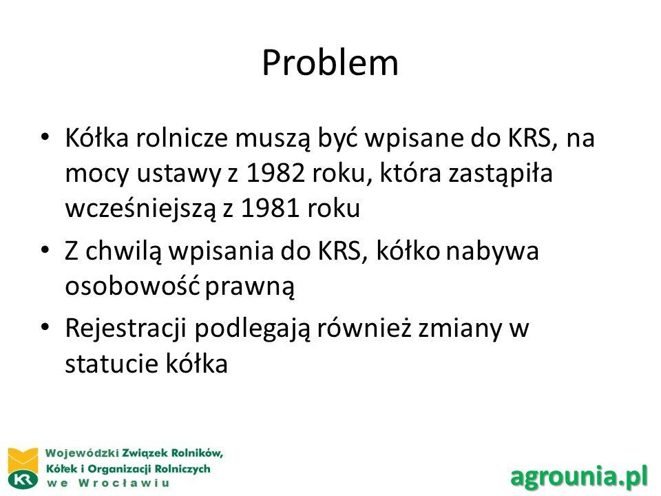 Problem Kółka rolnicze muszą być wpisane do KRS, na mocy ustawy z 1982 roku, która zastąpiła wcześniejszą z 1981 roku Z chwilą wpisania do KRS, kółko nabywa osobowość prawną Rejestracji podlegają również zmiany w statucie kółka agrounia.pl