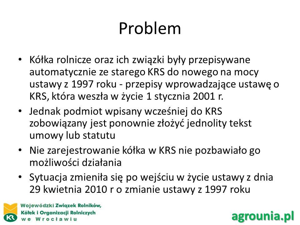 Problem Wszystkie organizacje kółek, które zostały wpisane do KRS przed 2001, i nie złożyły to tej pory nowego statutu w KRS, tracą osobowość prawną z dniem 1 stycznia 2014 r.