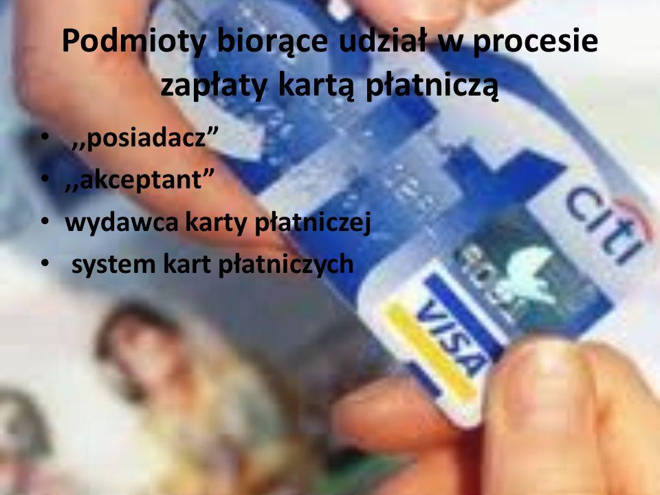 Podmioty biorące udział w procesie zapłaty kartą płatniczą,,posiadacz,,akceptant wydawca karty płatniczej system kart płatniczych