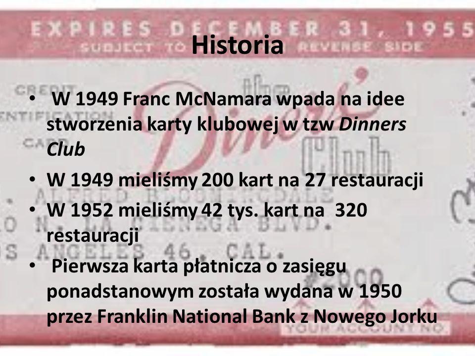 Historia W 1949 Franc McNamara wpada na idee stworzenia karty klubowej w tzw Dinners Club W 1949 mieliśmy 200 kart na 27 restauracji W 1952 mieliśmy 42 tys.
